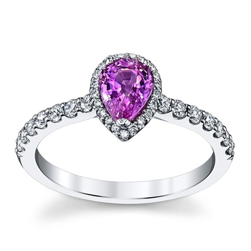 Pear Shaped 3 Prong Setting Amethyst Engagement Ring