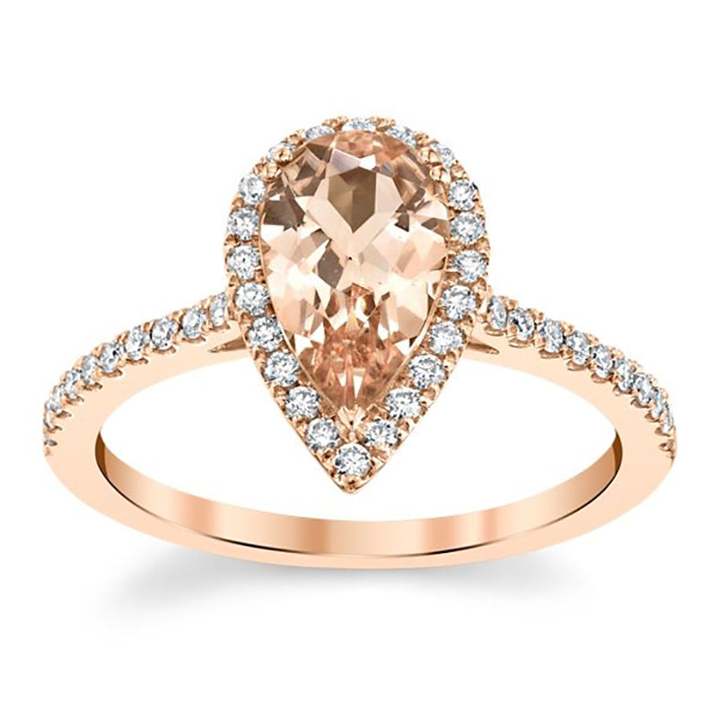 Pear Shape Morganite Halo Engagement Ring