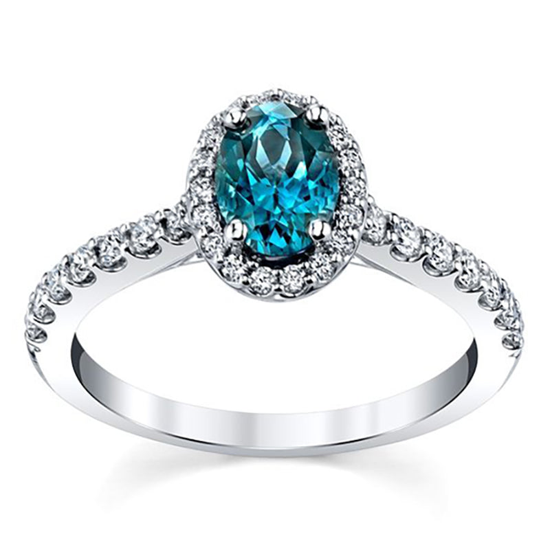 Esheza Blue Topaz Halo Engagement Ring