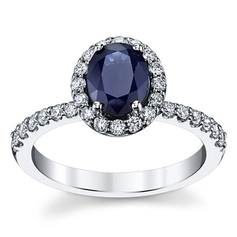 Blue Sapphire Oval Halo Engagement Ring