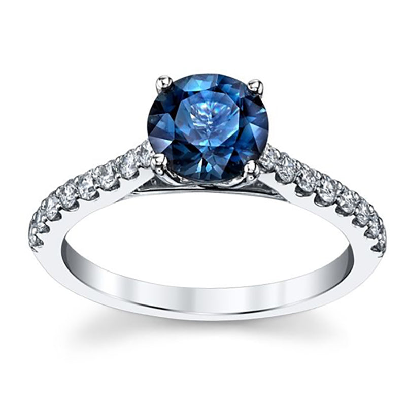 Esheza London Blue Topaz Halo Engagement Ring