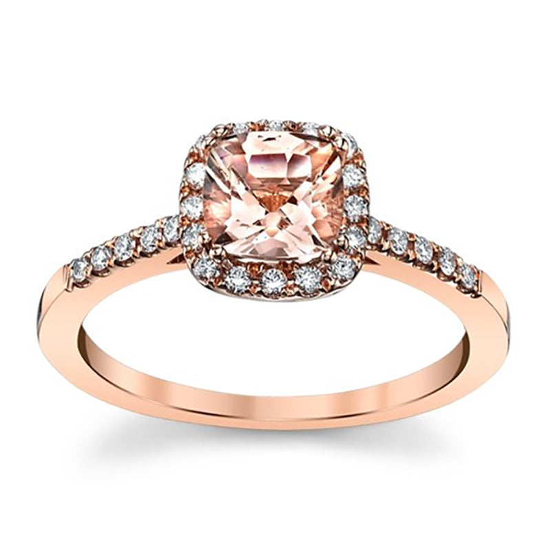 Cushion Cut Morganite Halo Engagement Ring