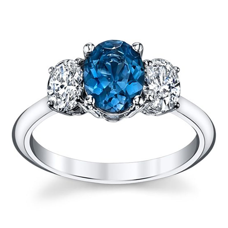 Esheza Triple Oval London Blue Topaz & Diamond Engagement Ring