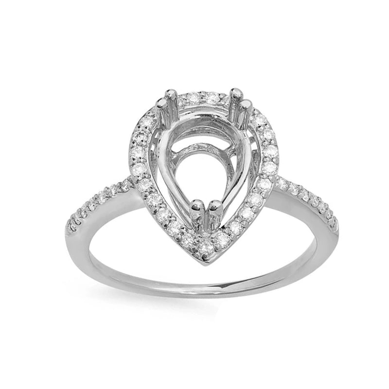 Halo Semi Mount Engagement Ring Setting For 8mmx5mm Pear Shape Stone