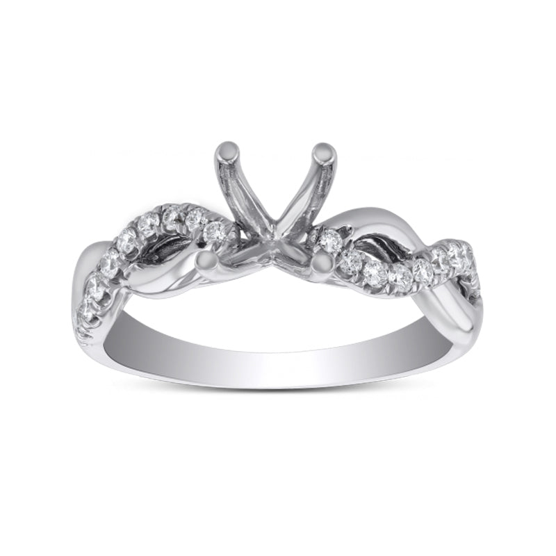 Single Diamond Infinity Semi Mount Engagement Ring Setting