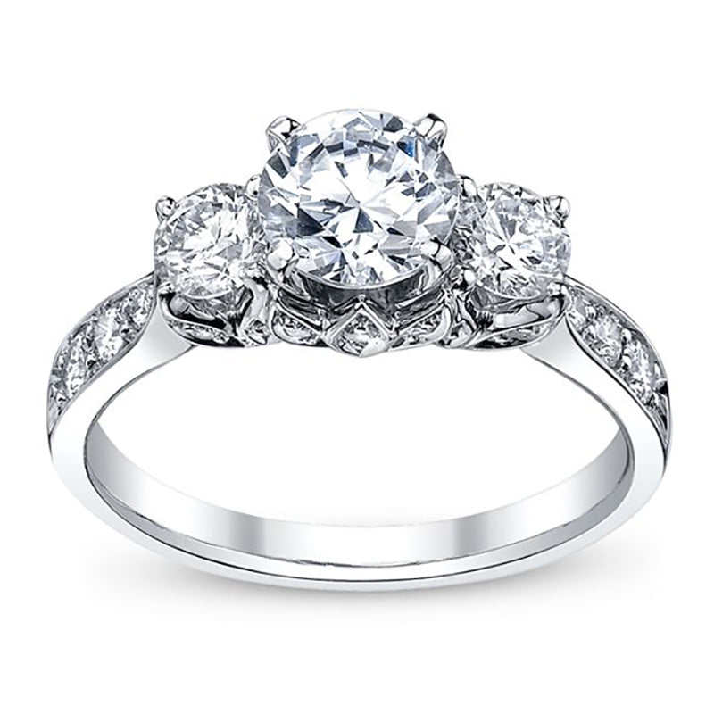 Triple Round Halo Engagement Ring