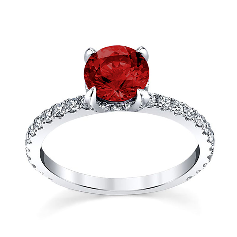 Monalisa Ruby Halo Engagement Ring