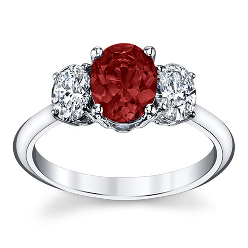 Monalisa Triple Oval Ruby & Diamond Engagement Ring