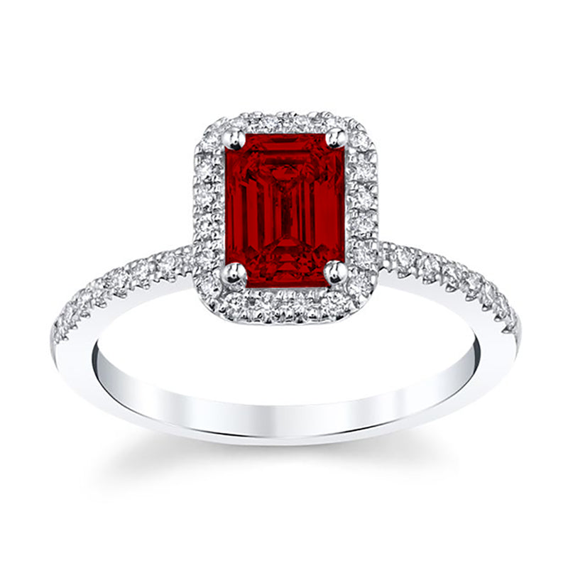 Monalisa Emerald-Cut Ruby Engagement Ring