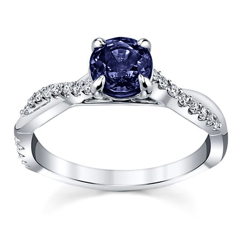 Single Round Blue Sapphire Infinity Engagement Ring