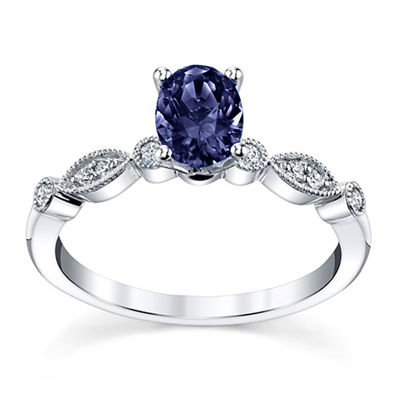 Blue Sapphire Oval Infinity Diamond Engagement Ring