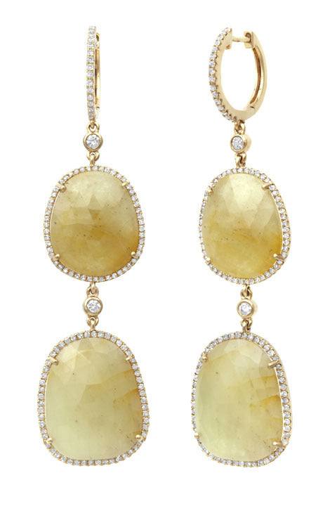 First Impression Custom Collection ~ Yellow Sapphire & Diamond Earring