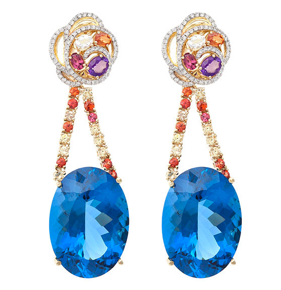 First Impression Custom Collection ~ London Blue Topaz & Multi-Stone Earring