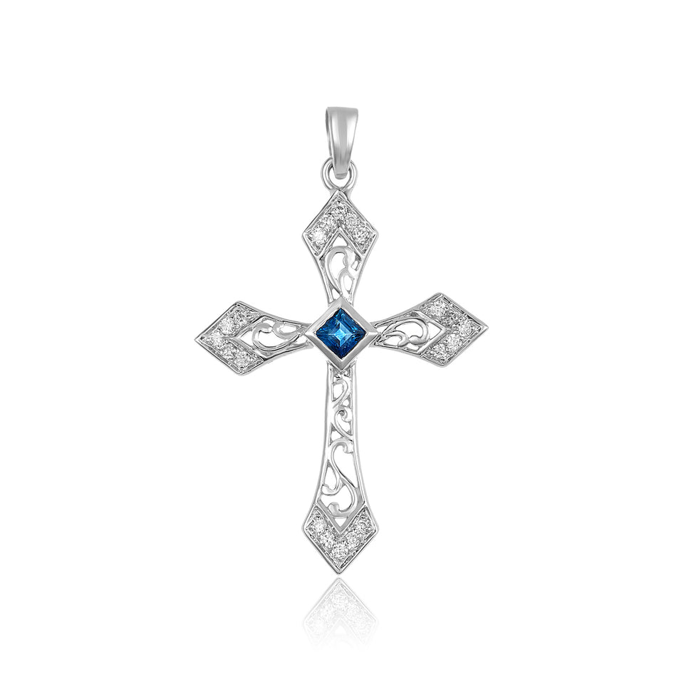 18k White Gold Diamond & Sapphire Cross Pendant