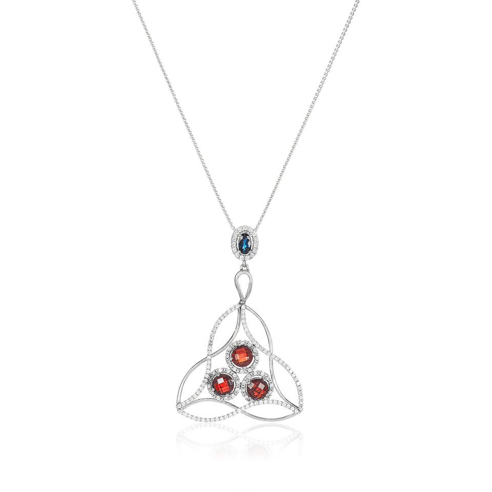 Kris Cross Topaz, Garnet & Diamond Pendant