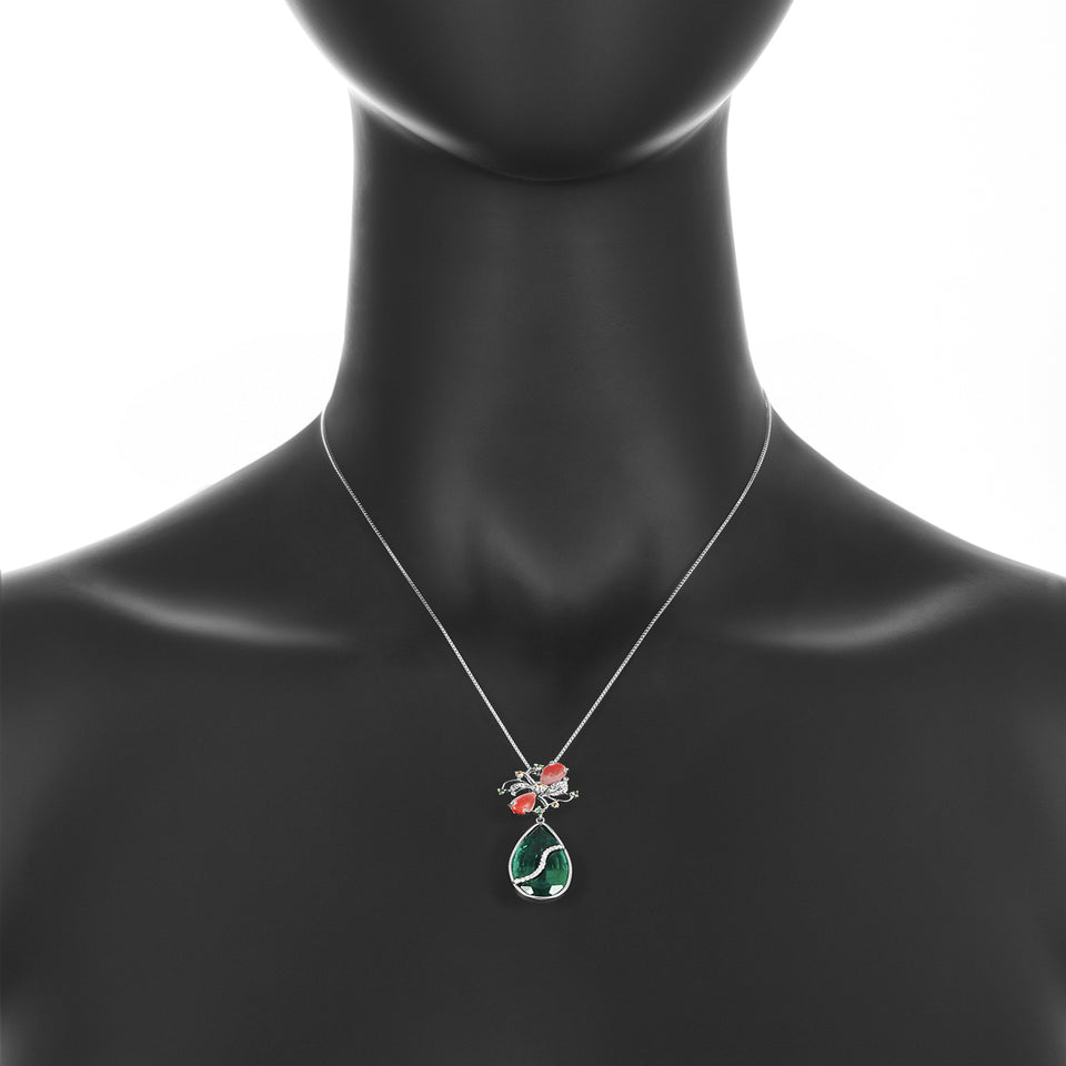 Green Garnet, Coral & Diamond Pendant
