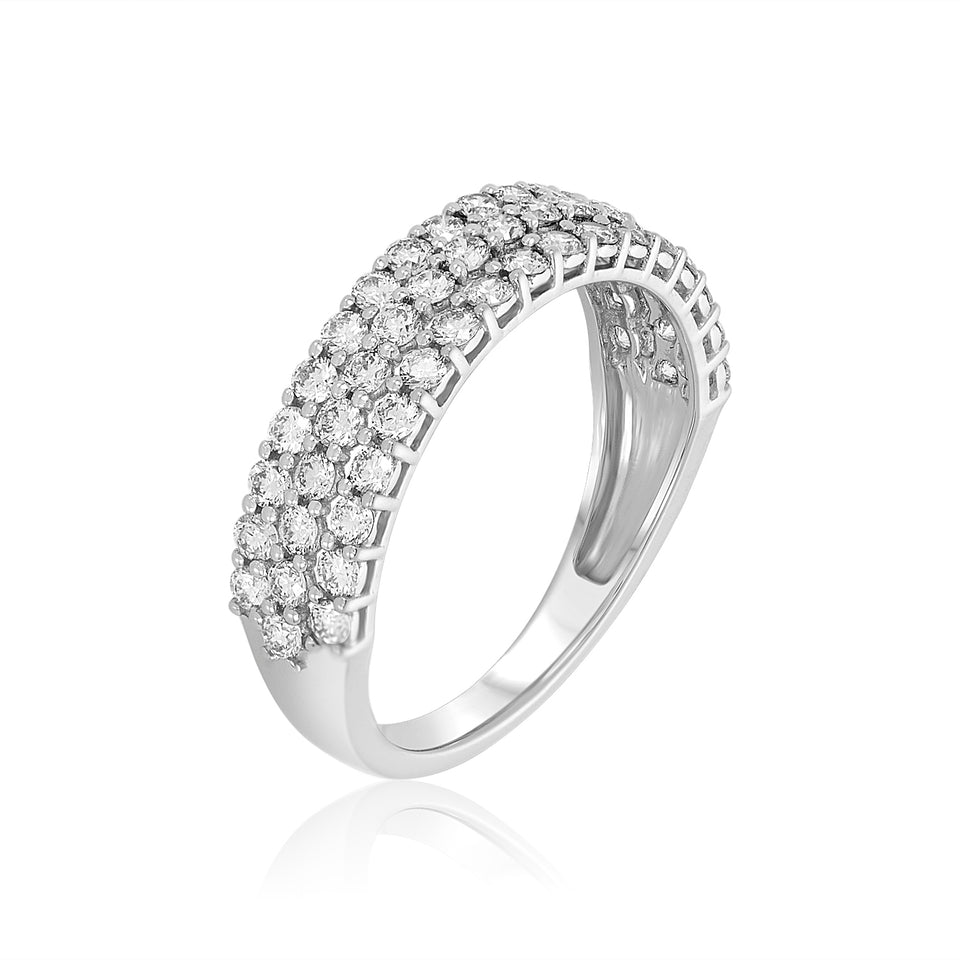 Three-Row Diamond Wedding Band