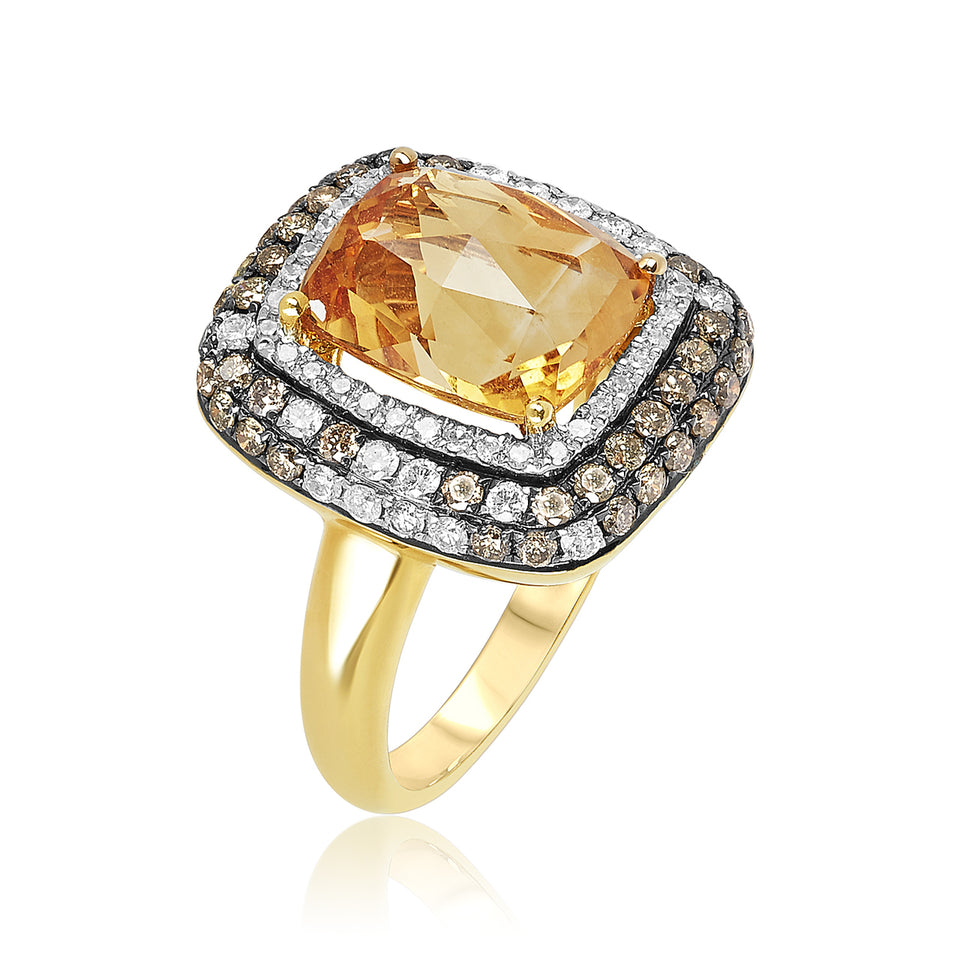 18kt Citrine White and Champagne Diamond Ring