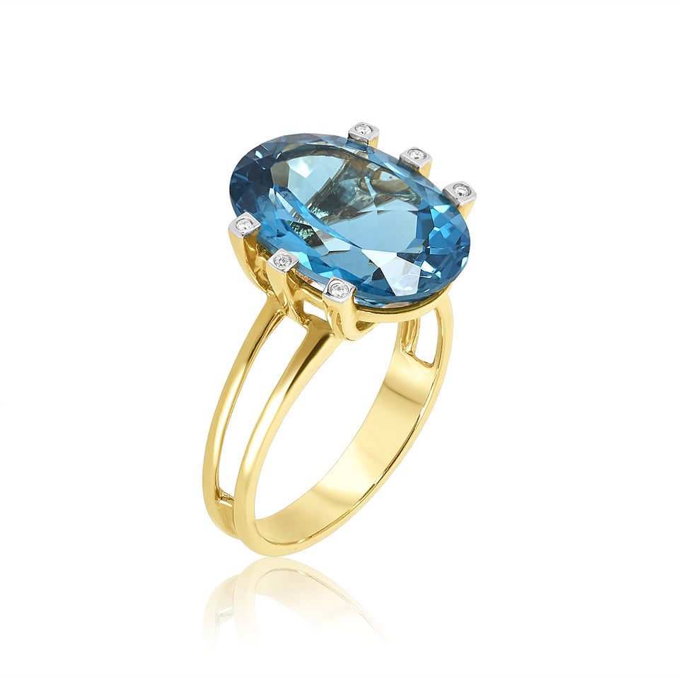 Oval London Blue Topaz & Diamond Ring