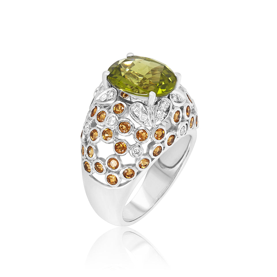 Peridot & Diamond Square Ring