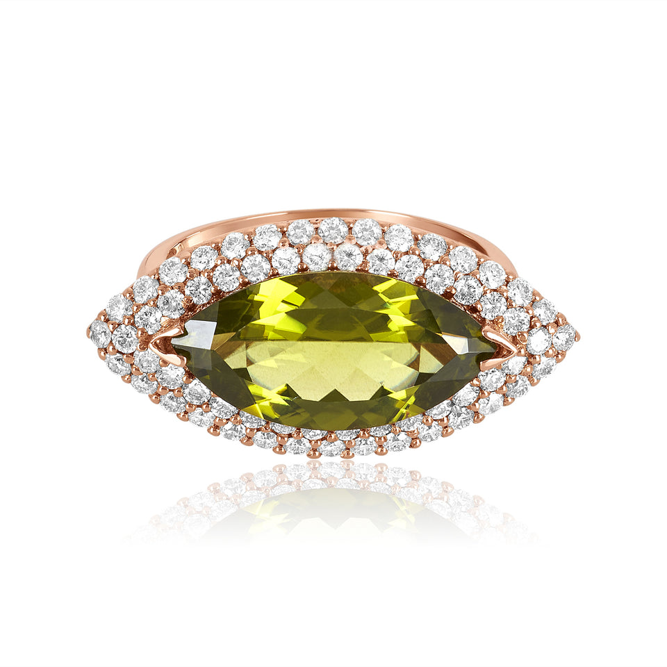 Marquise Shaped Peridot & Diamond Ring