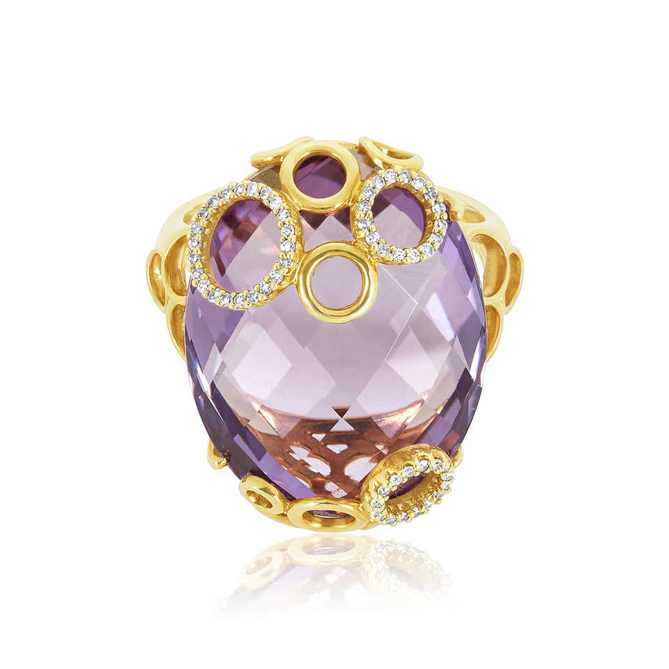 Circle Gold Amethyst & Diamond Ring