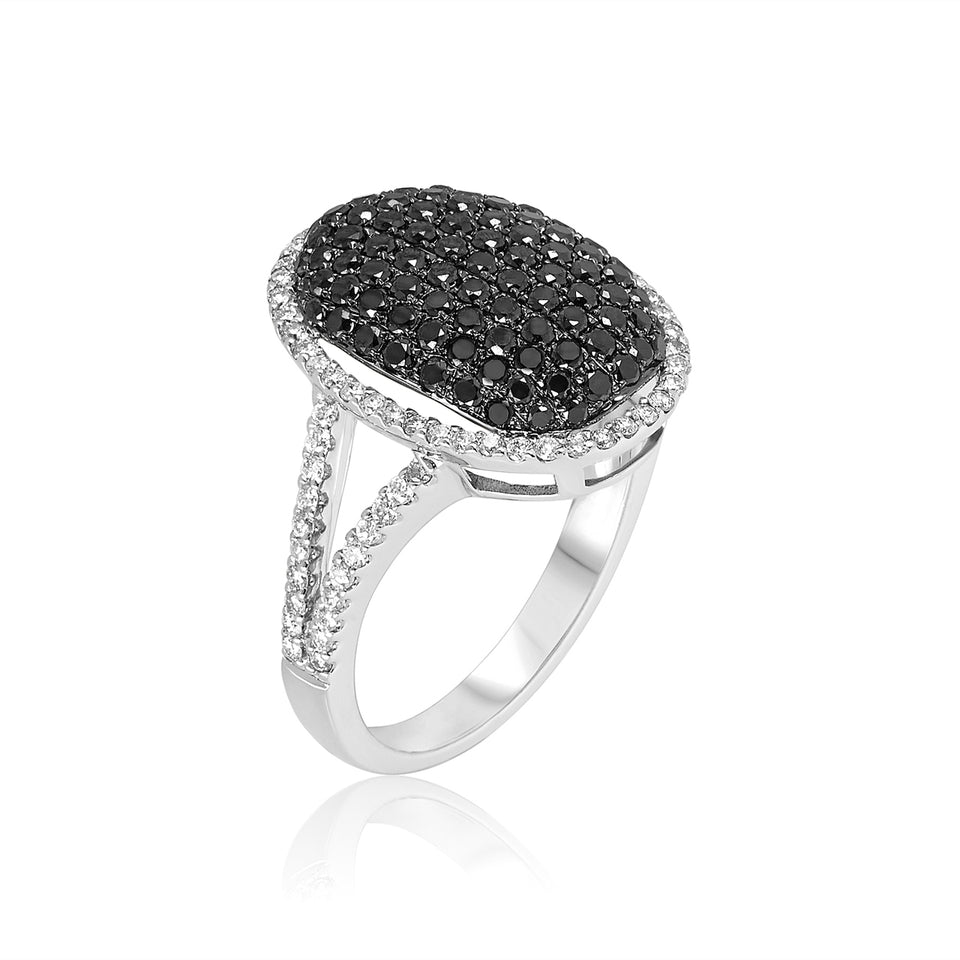 Oval Black & White Diamond Ring