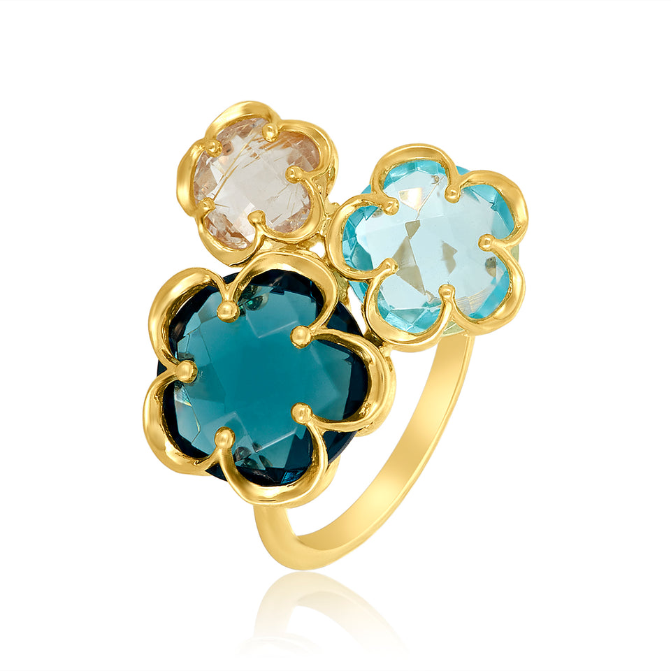 Daisy Triple Gemstone Ring