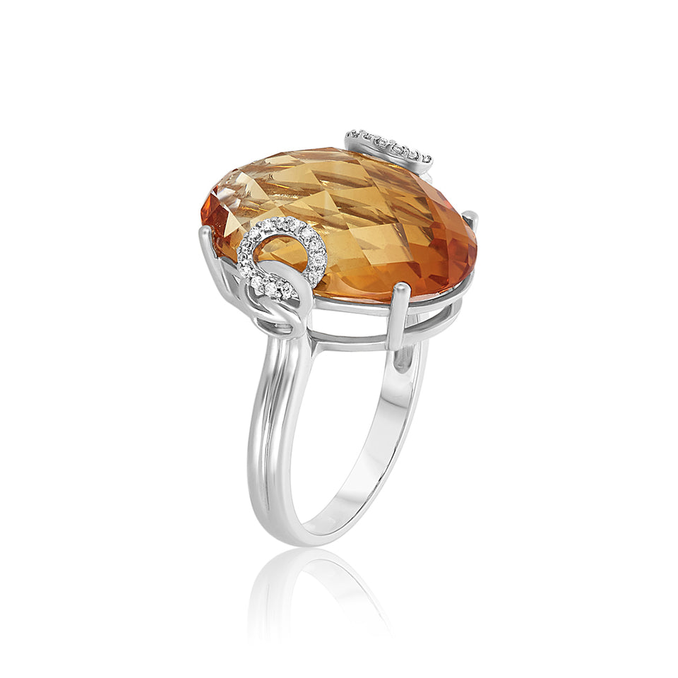 Oval Citrine & Diamond Ring
