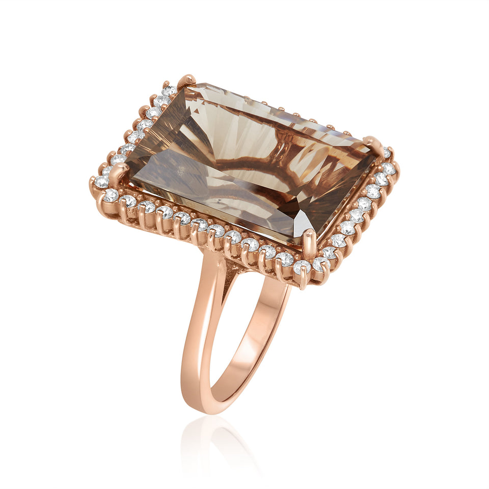 Rose Gold Smoky Quartz & Diamond Ring