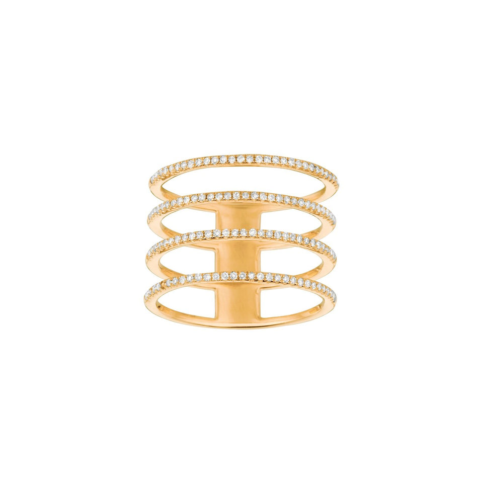 Chic Collection ~ Four Layer Yellow Gold Diamond Ring