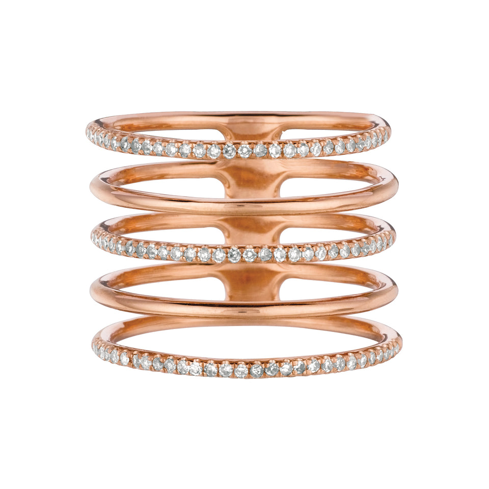 Five Layer Rose Gold Diamond Ring