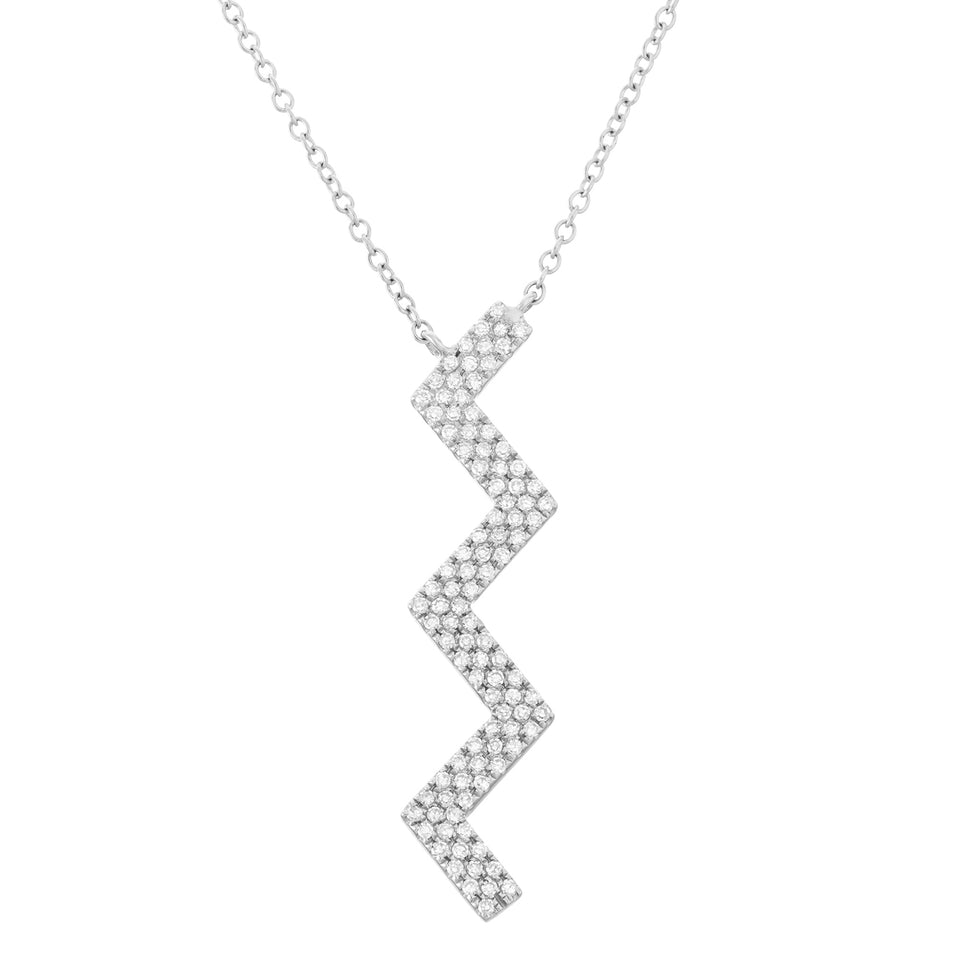 White Gold Zig-zag Diamond Pendant