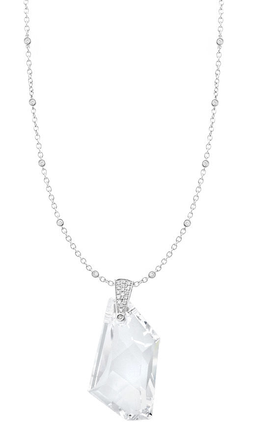 White Crystal & Diamond Pendant