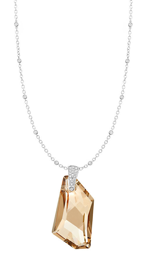 Champagne Crystal & Diamond Pendant