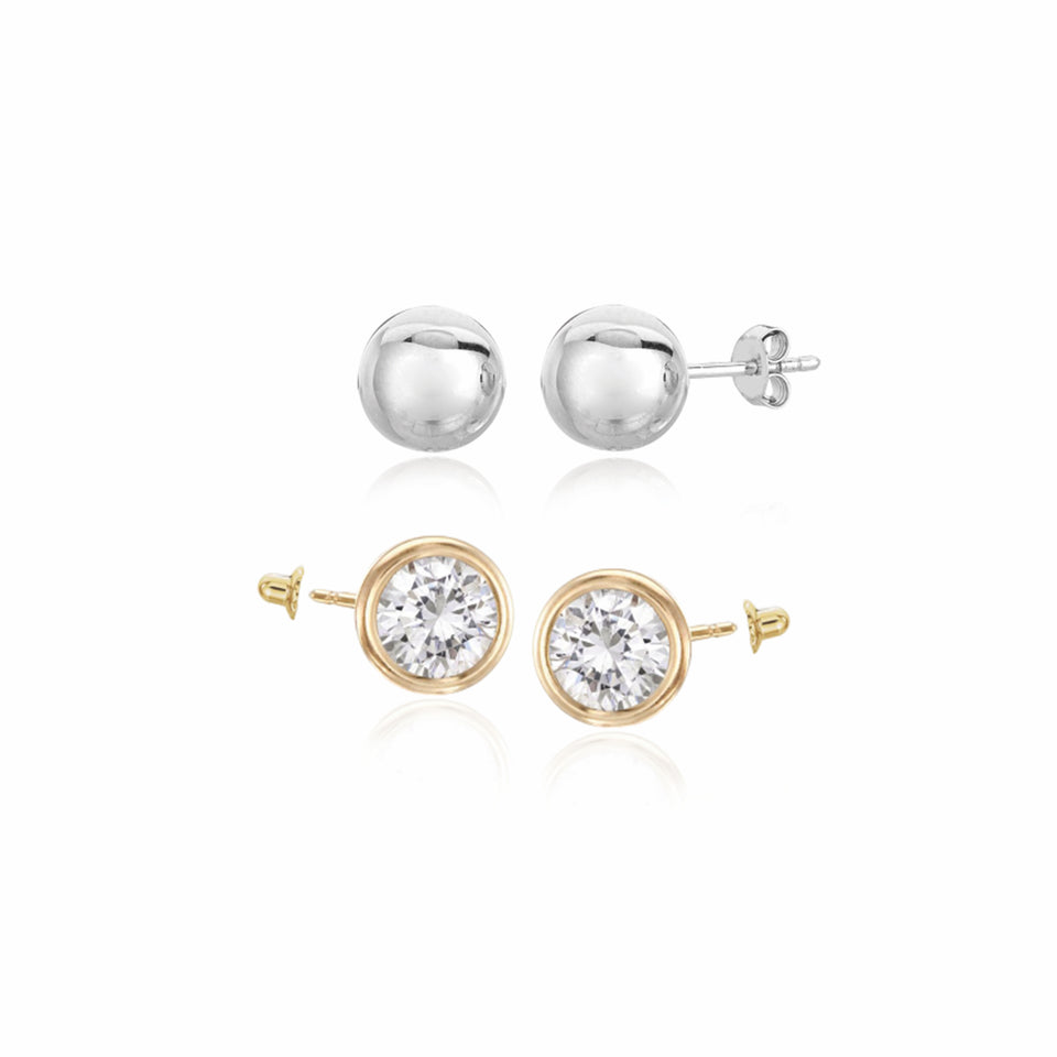 Twin Studs ~ Cz Solitaire & White Gold Ball