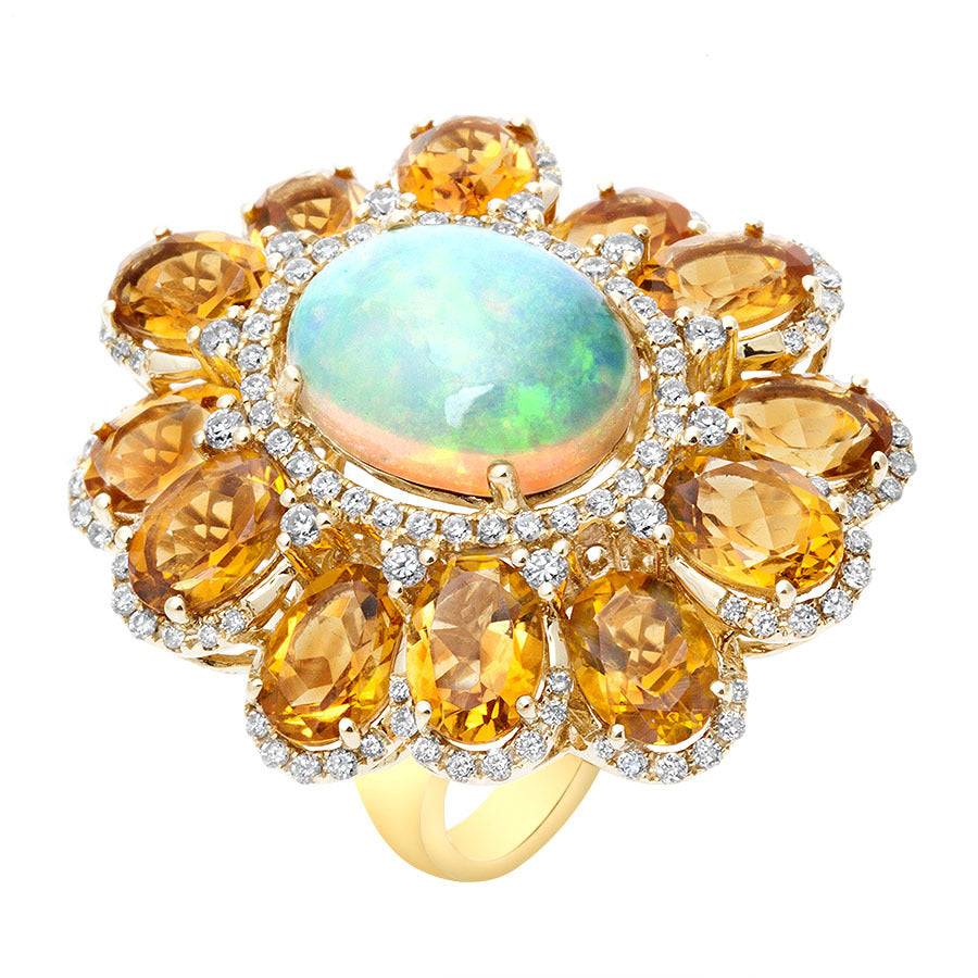 18kt Citrine & Opal Diamond Ring