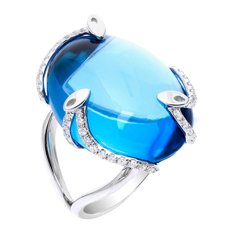 Cabochon Topaz & Diamond Ring