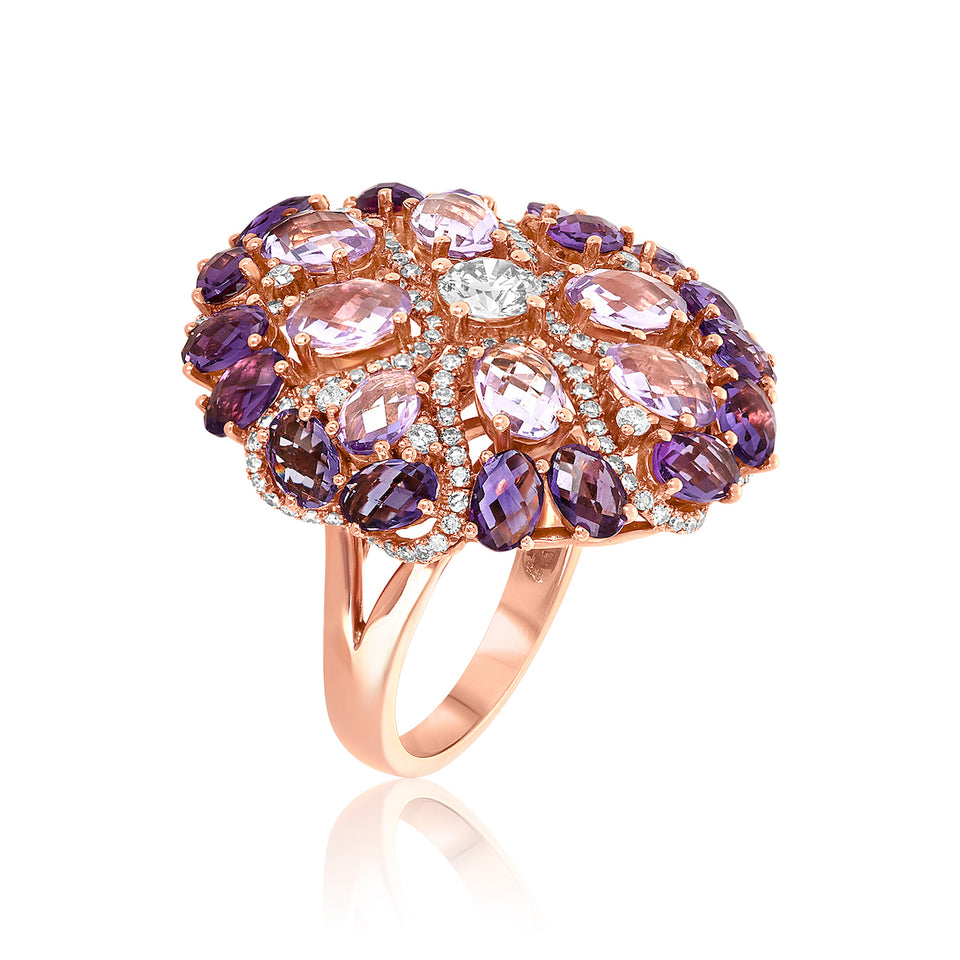 Multi-colored Amethyst & Diamond Ring