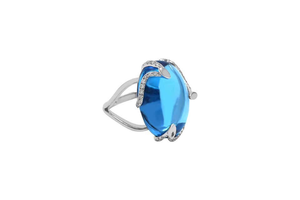 White Gold Oval Topaz & Diamond Ring