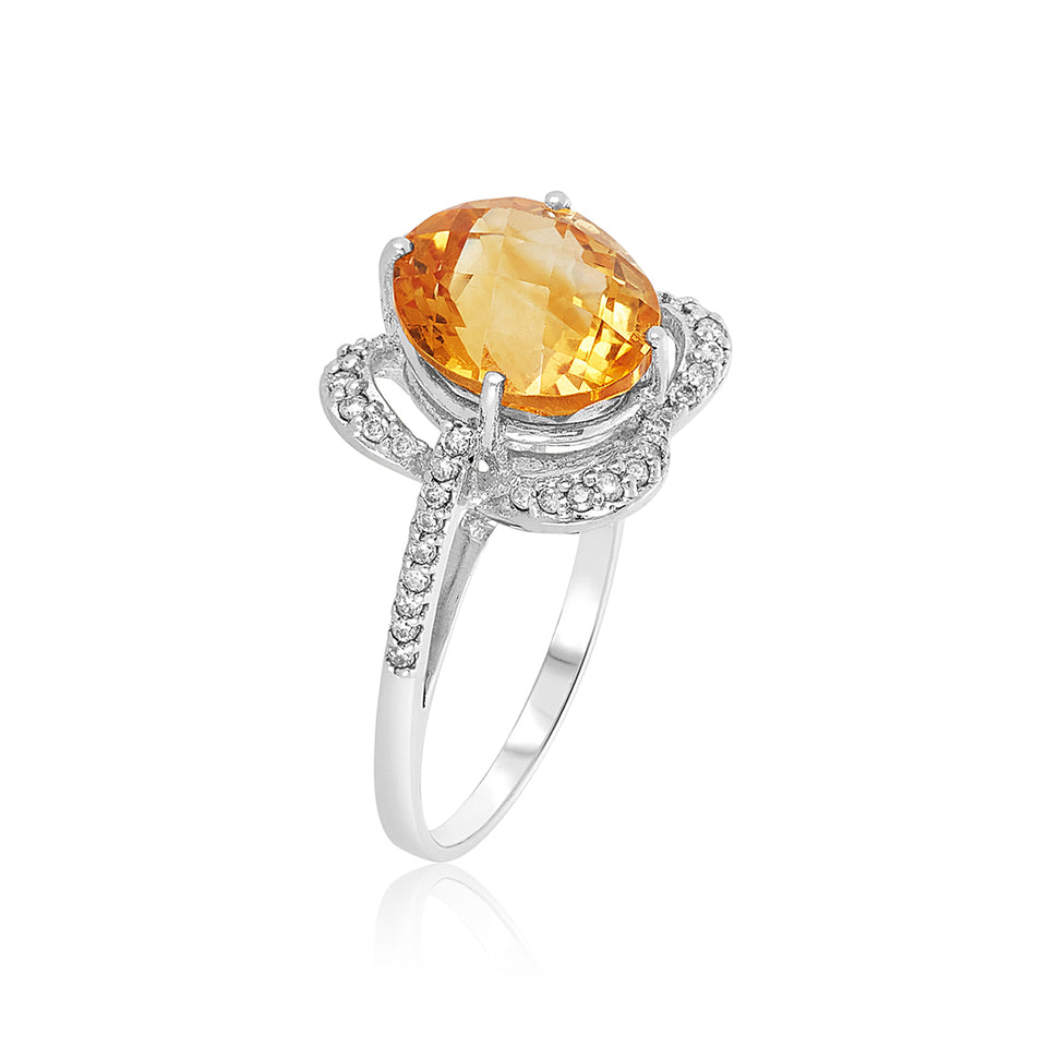Citrine & Diamond Rose White Gold Ring