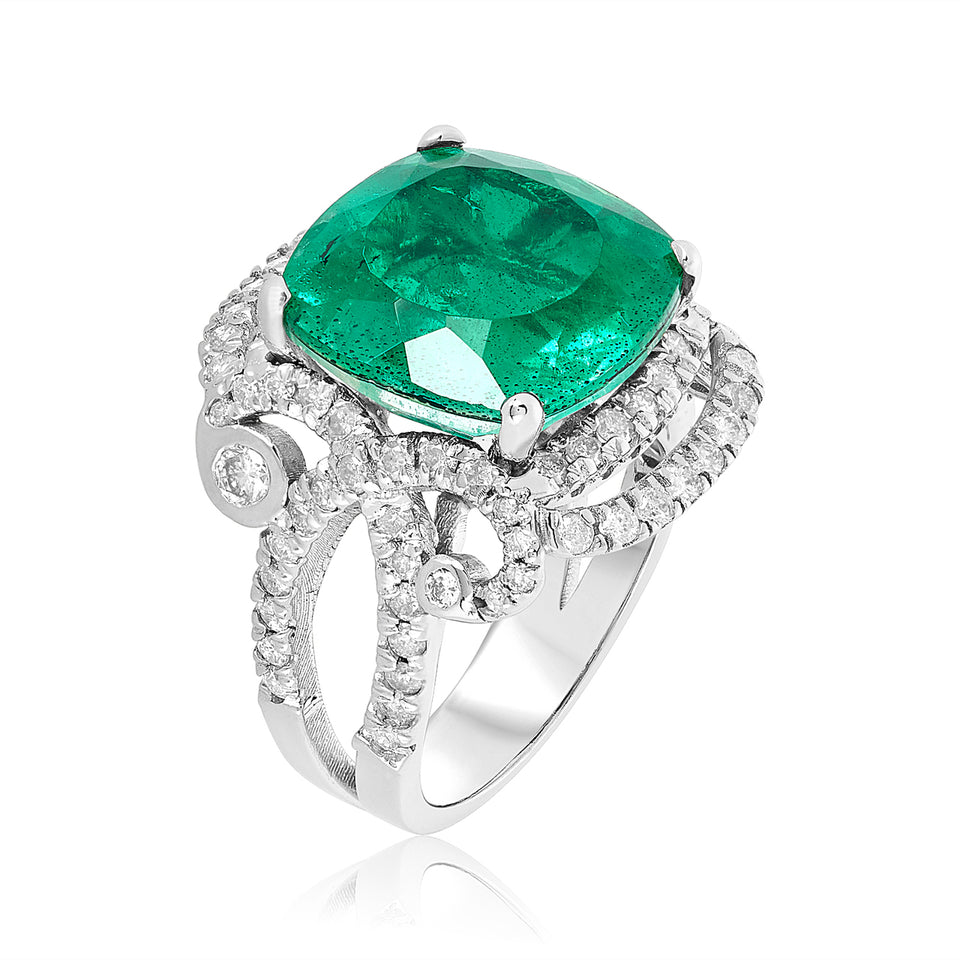 Emerald Doublet & Diamond Ring
