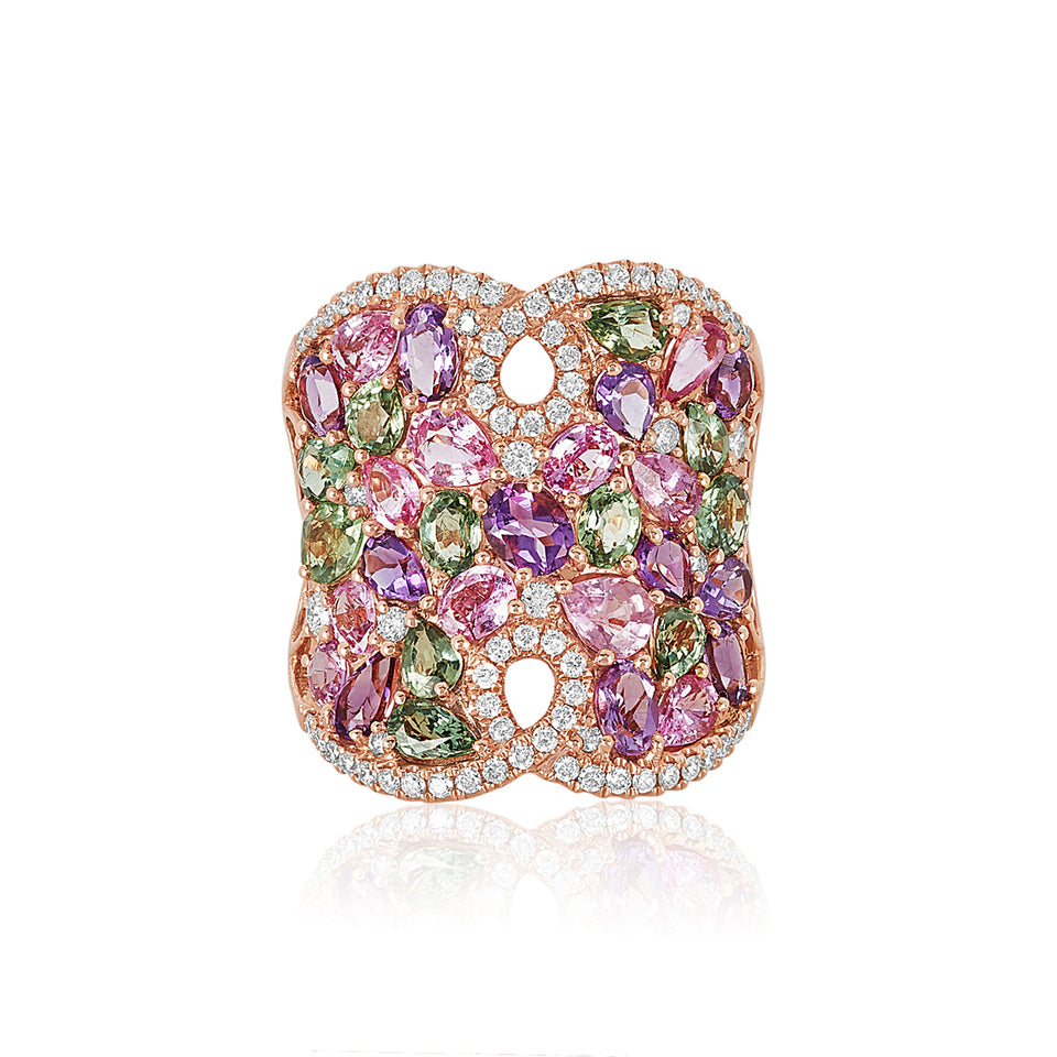Multi-colored Sapphire & Diamond Ring
