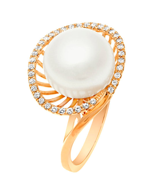 White Freshwater Pearl Basket Ring