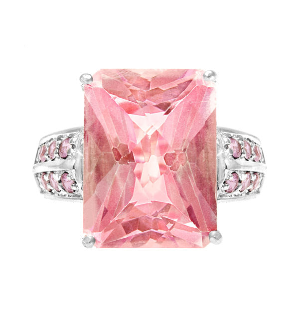 Pink Topaz & Diamond Square Ring