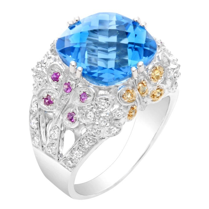 Cushion Blue Topaz & Diamond Ring