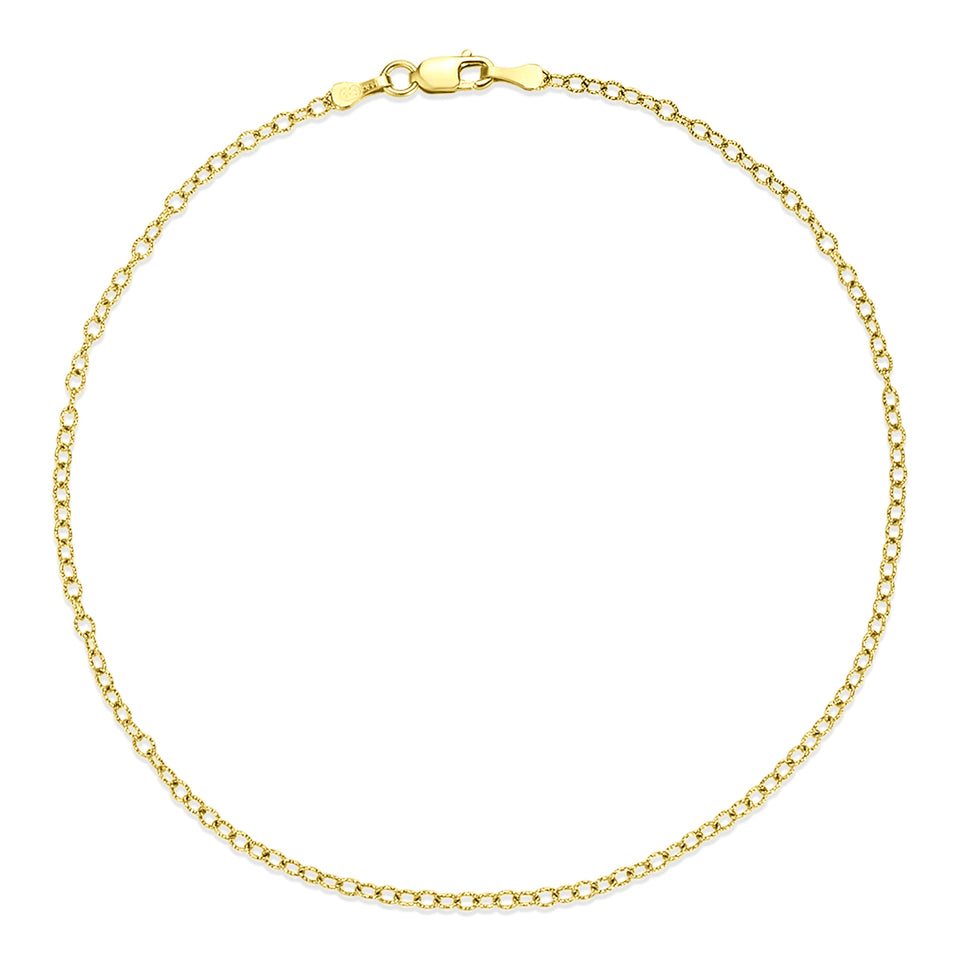 14kt Gold Cable Chain Anklet