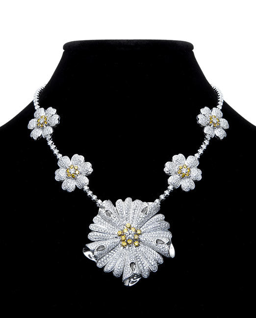 First Impression Custom Collection ~ White & Yellow Diamond Necklace