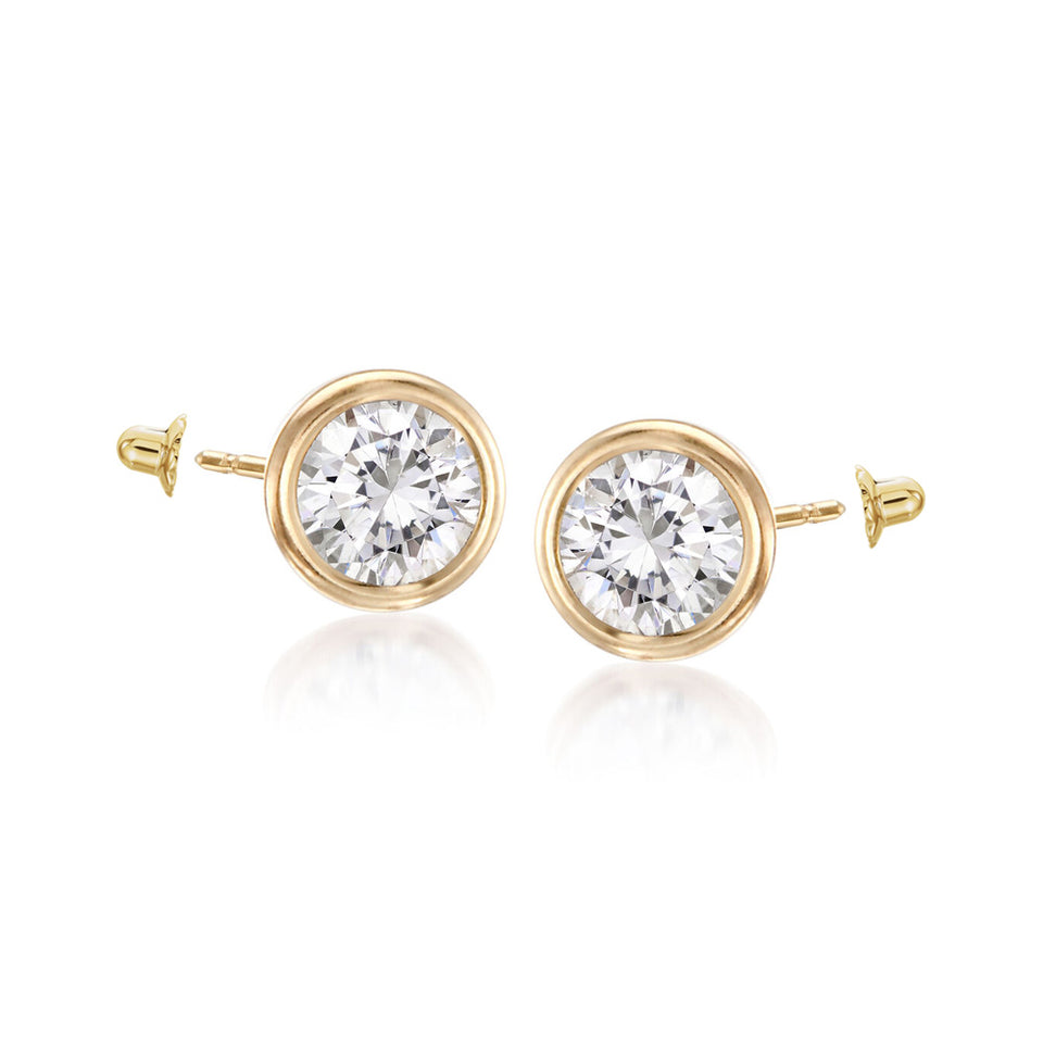 Twin Studs ~ Cz Solitaire & Yellow Gold Ball
