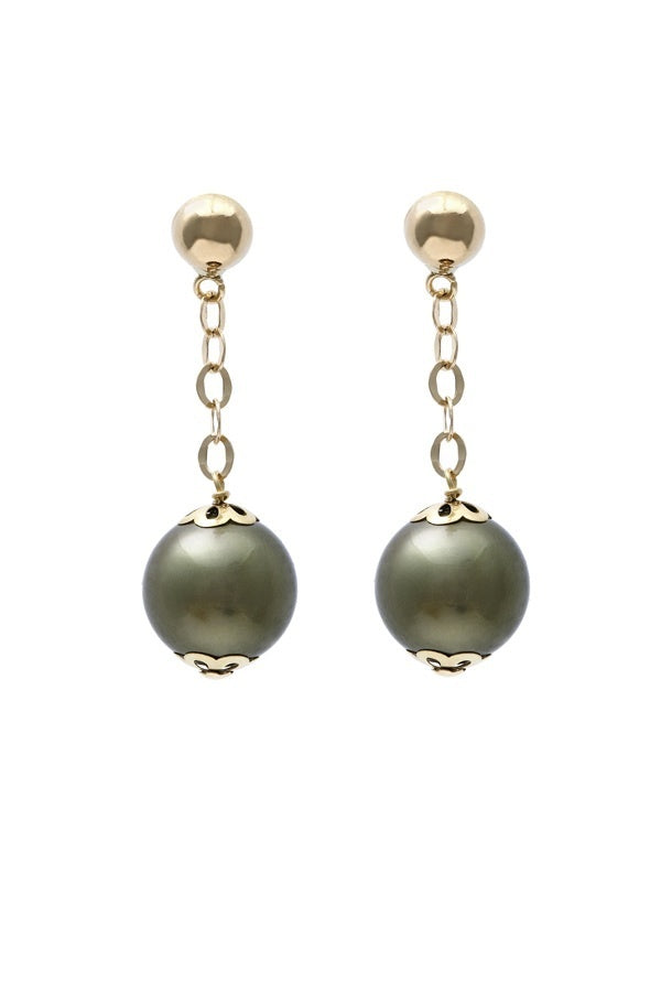 Cultured Moss Pearl Earring